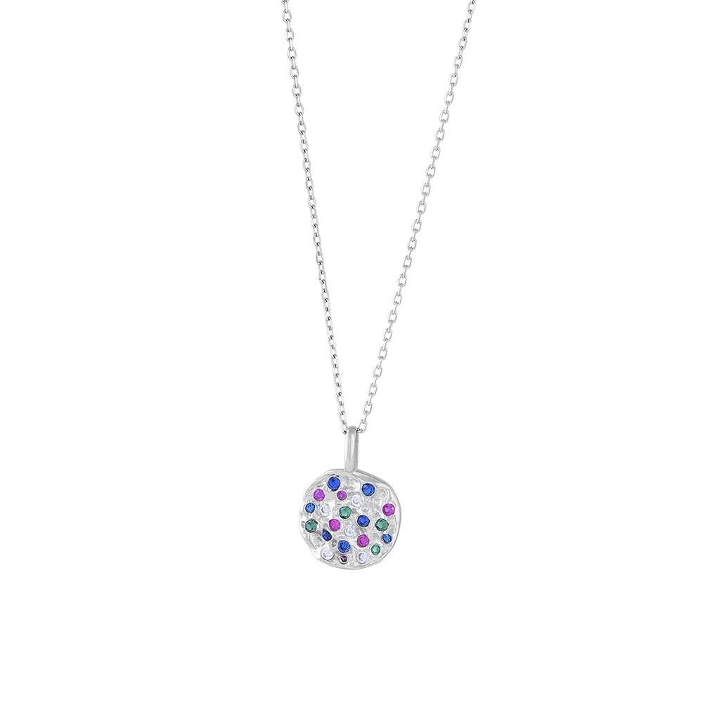 Rhodineret sølv halskæde med multifarvede zirkoner
