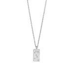 Rhodineret sølv halskæde med plade vedhæng med zirkoner