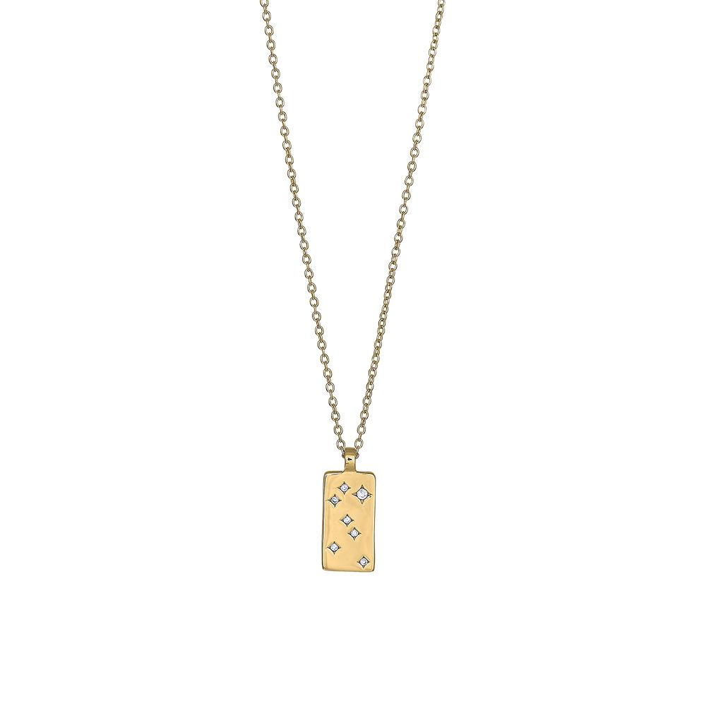 Forgyldt sølv halskæde med plade vedhæng med zirkoner