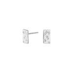 Rhodineret sølv plade ørestikker med zirkoner