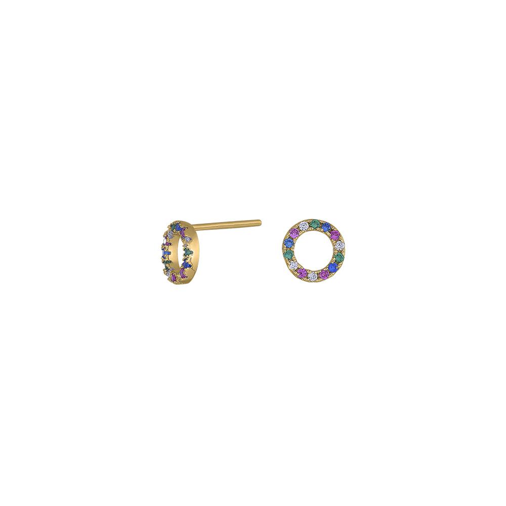 Forgyldt sølv ørestikker med multifarvede zirkoner