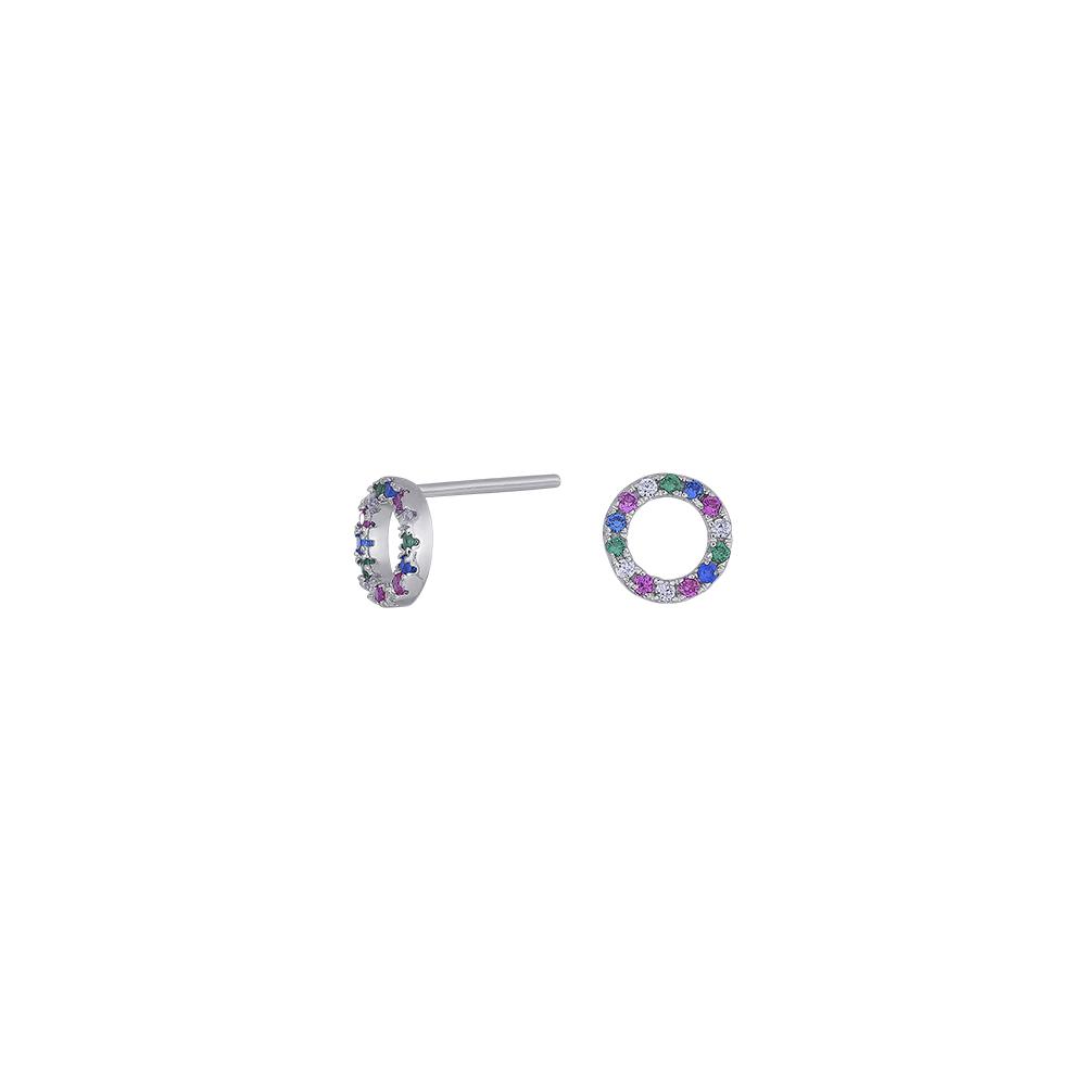 Rhodineret sølv ørestikker med multifarvede zirkoner