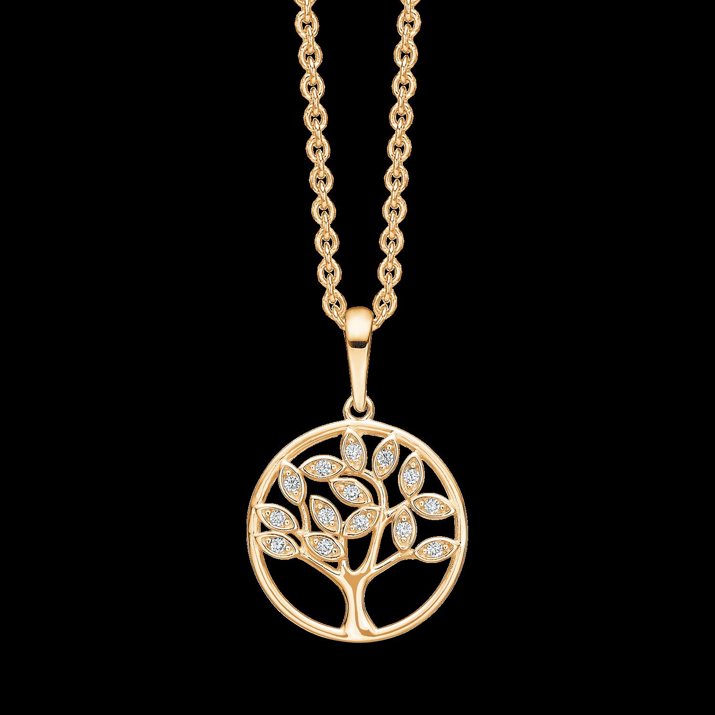 halskæde med 14 karat guld vedhæng med livets træ og zirkoner