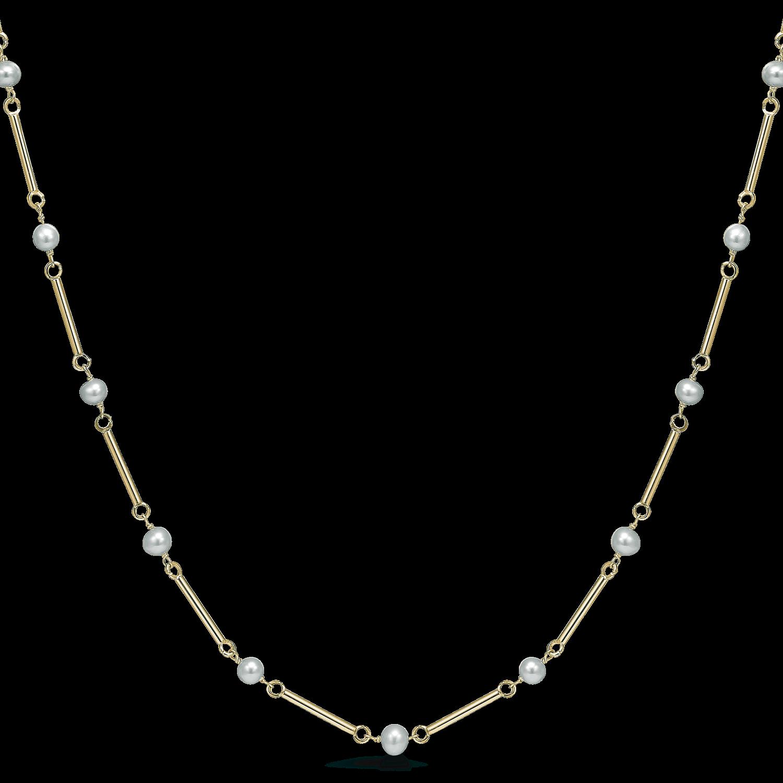 8 karat guld pind og perle halscollie.
