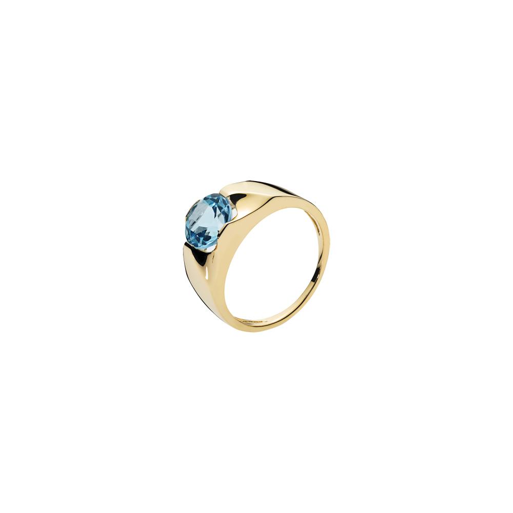 Klassisk 8 karat guld ring med topas fra Lund Copenhagen