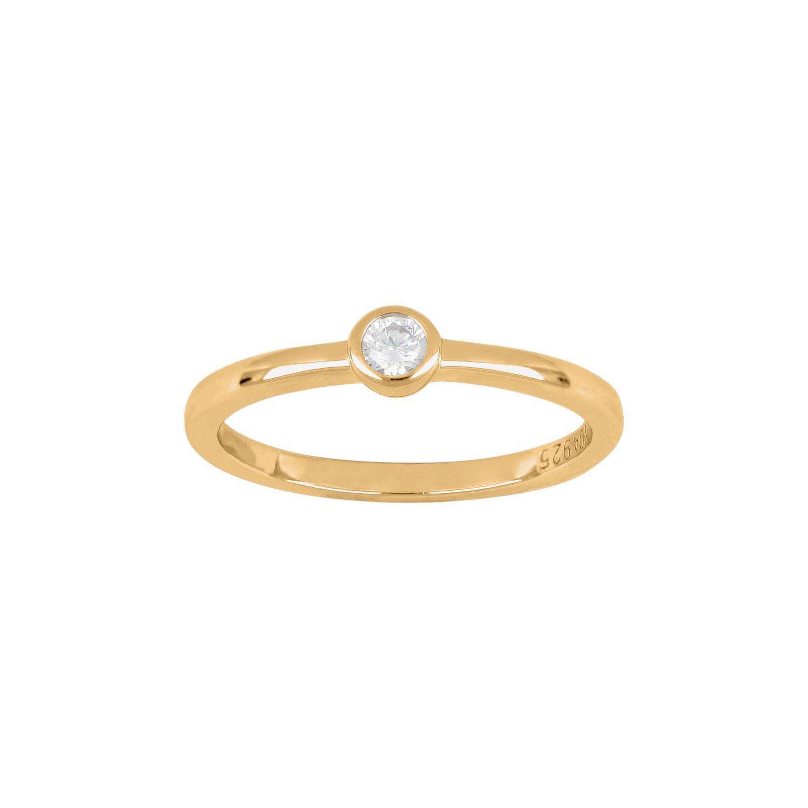 Forgyldt sølv ring med zirkon fra Joanli Nor