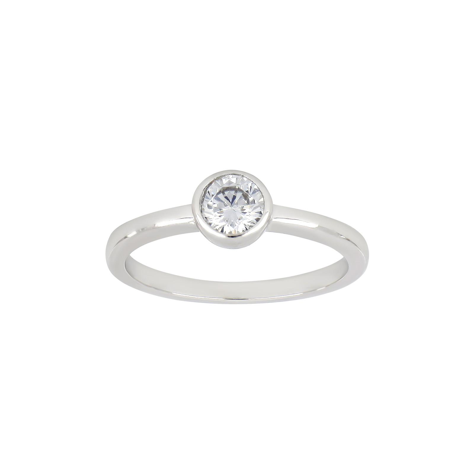 Rhodineret sølv ring med zirkon fra Joanli Nor