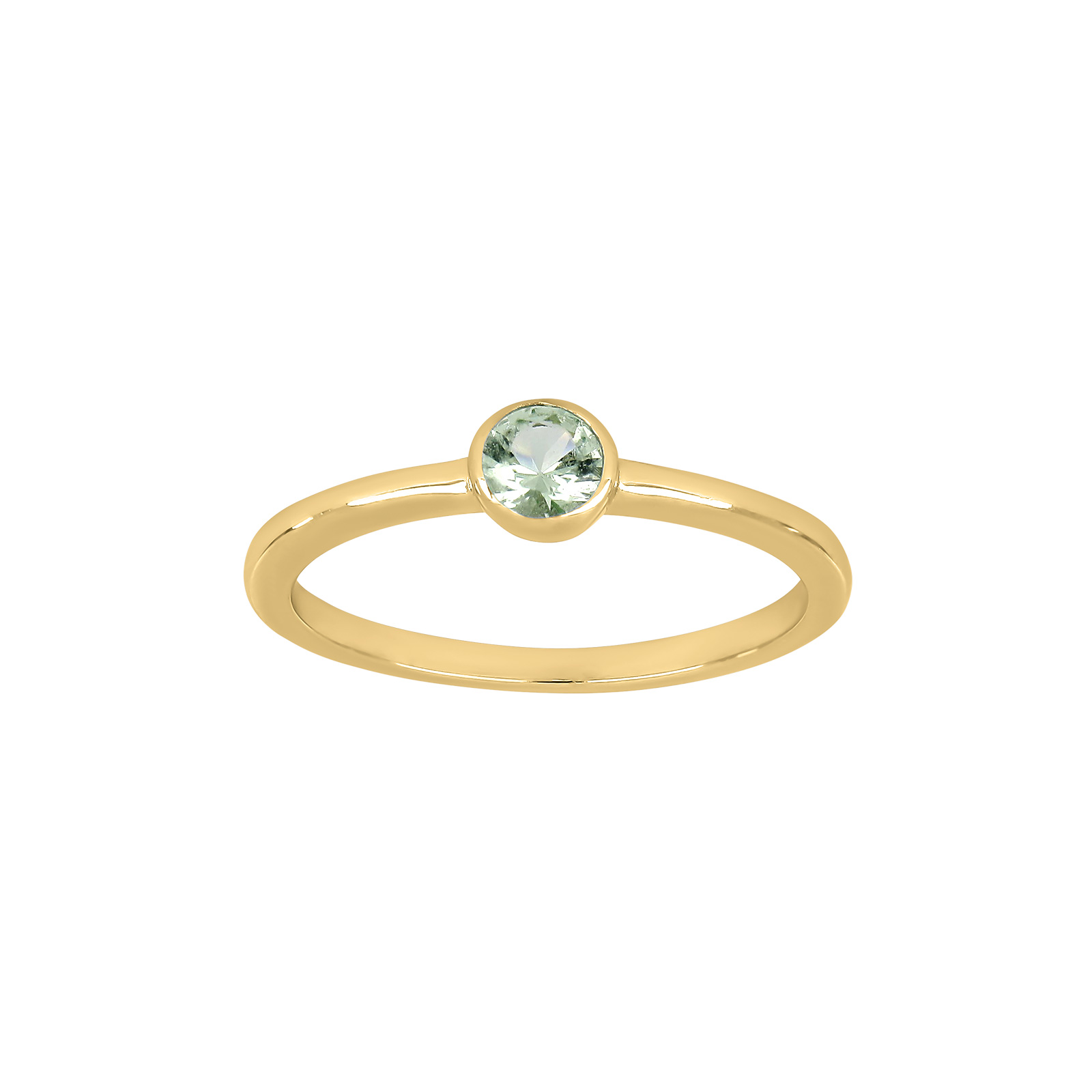 Forgyldt sølv ring med farvede zirkon i rørfatning fra Joanli Nor