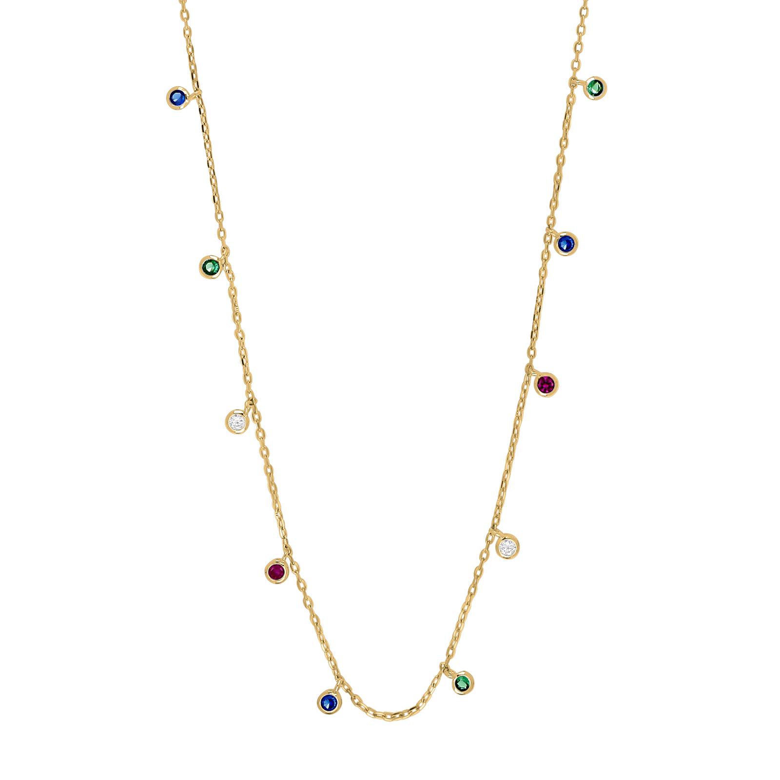 Forgyldt sølv halskæde med multifarvede zirkoner model GiaNor