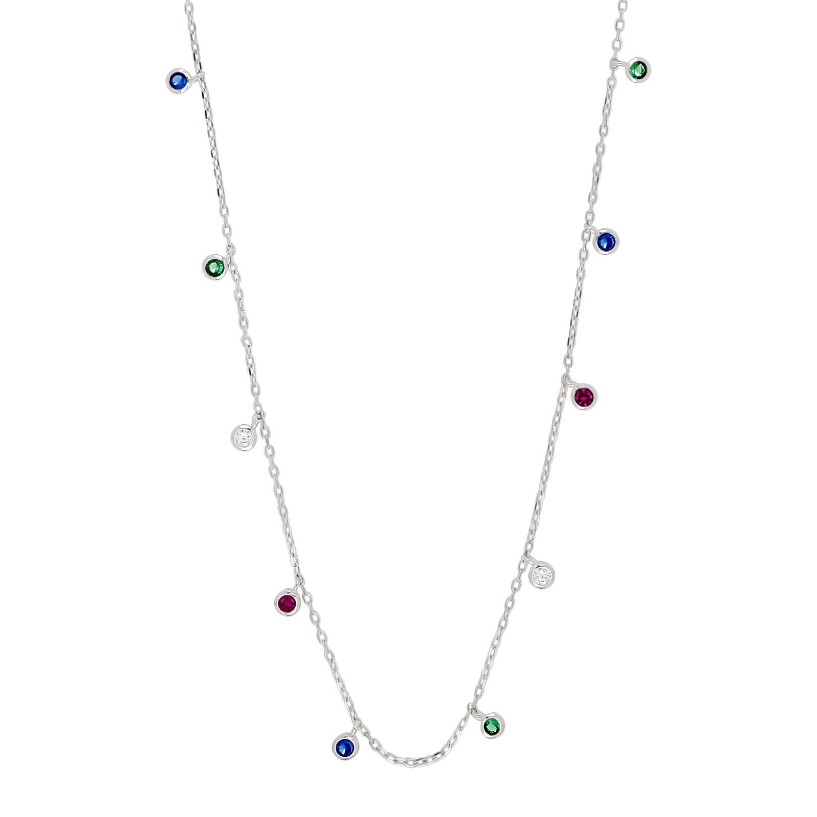 Rhd sølv halskæde med multifarvede zirkoner model GiaNor