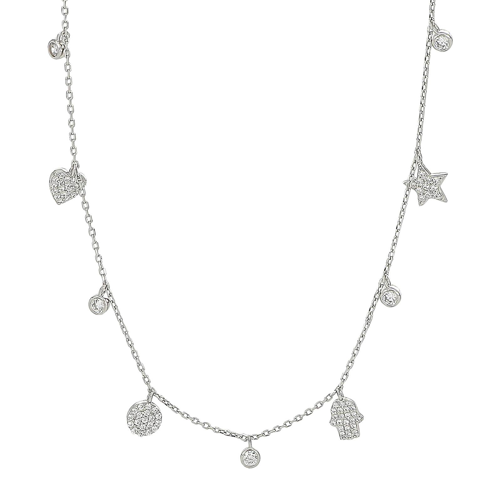 Rhodineret sølv halskæde med vedhæng med zirkoner fra Joanli Nor