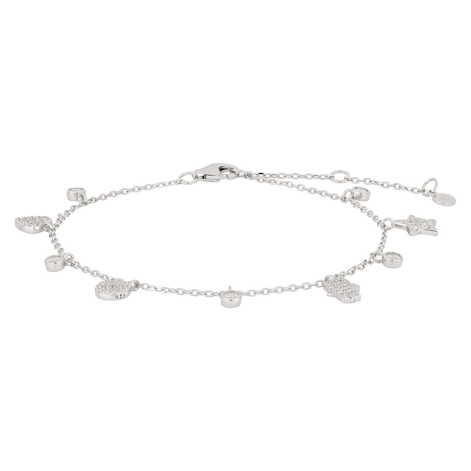 sølv armbånd med små vedhæng med zirkoner fra Joanli Nor