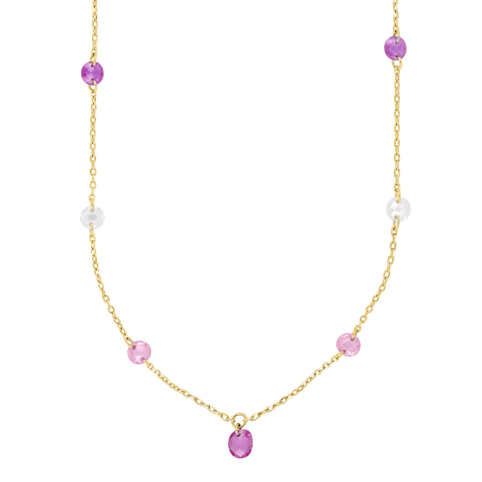Forgyldt sølv halskæde med pink sten fra Joanli Nor
