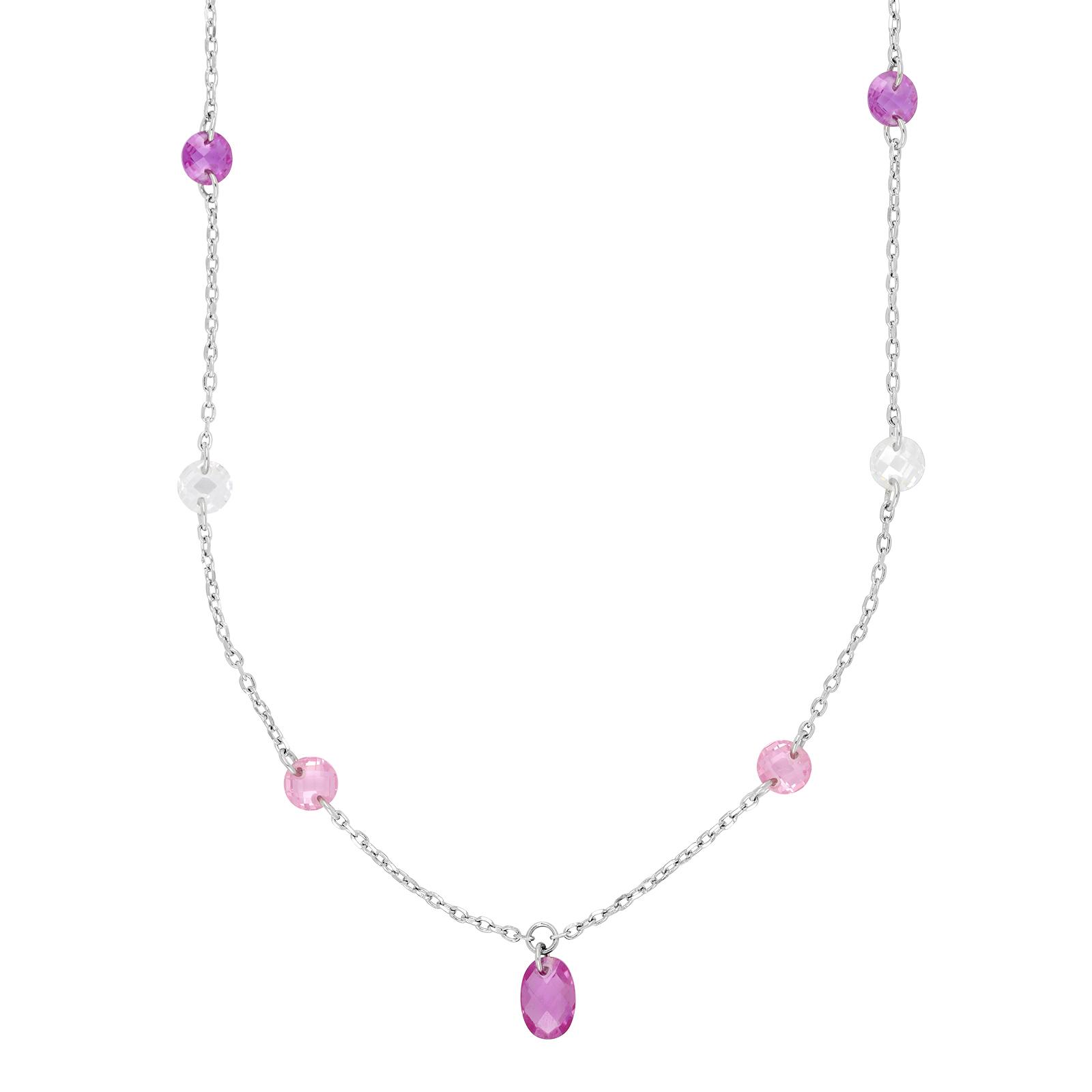 Rhodineret sølv halskæde med pink sten fra Joanli Nor