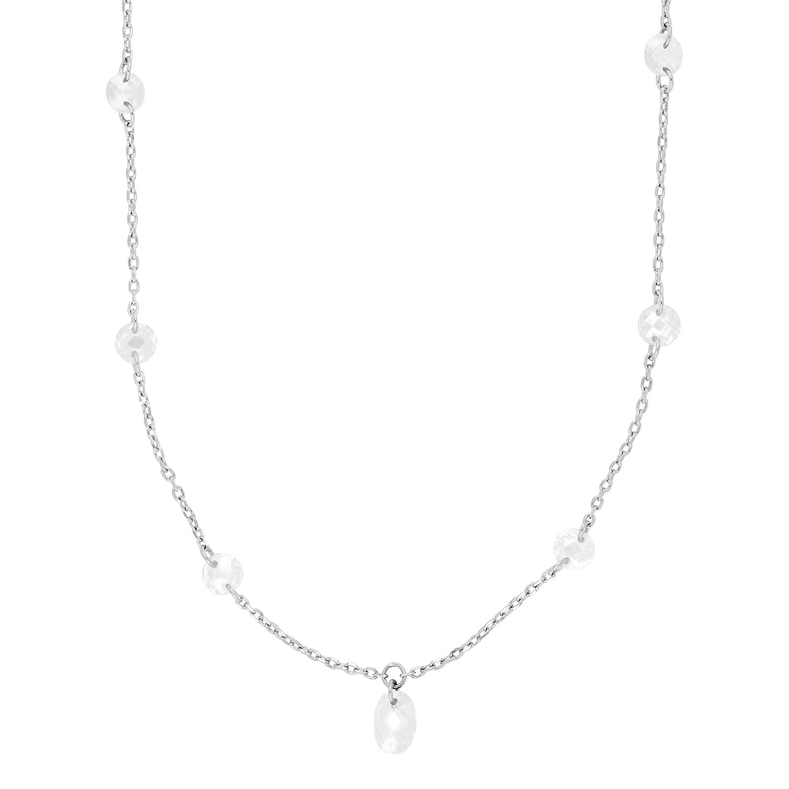 Rhodineret sølv halskæde med hvide sten fra Joanli Nor