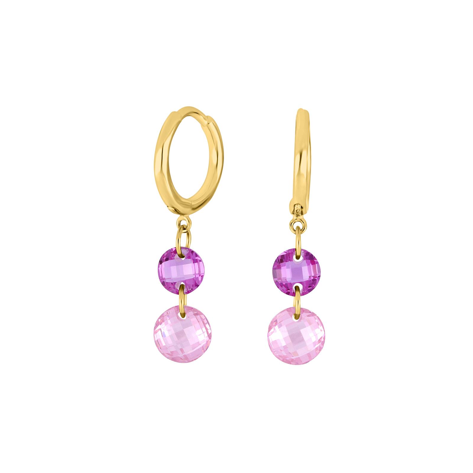 Forgyldt sølv ørehænger med pink og lilla zirkoner