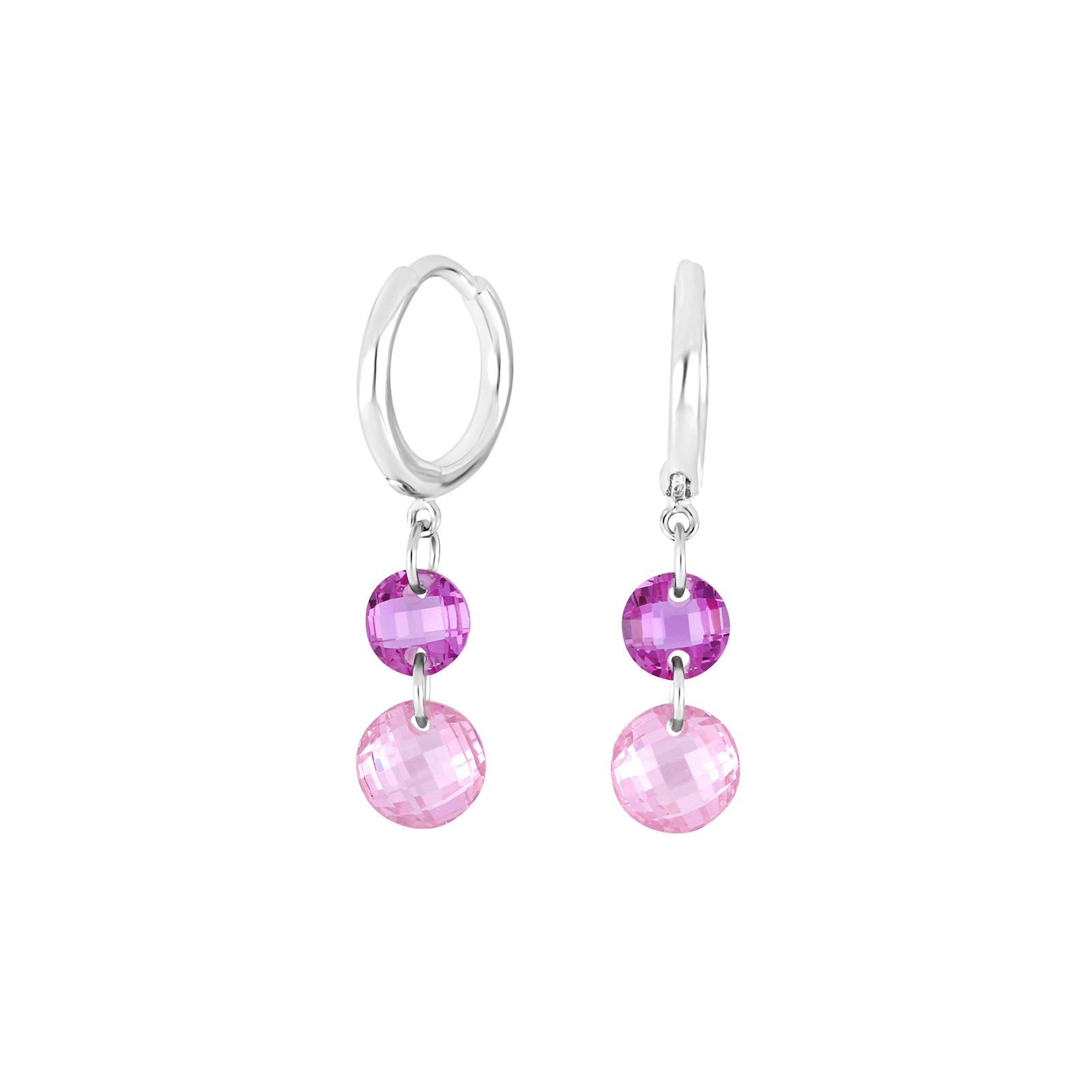 Rhodineret sølv ørehænger med pink og lilla zirkoner