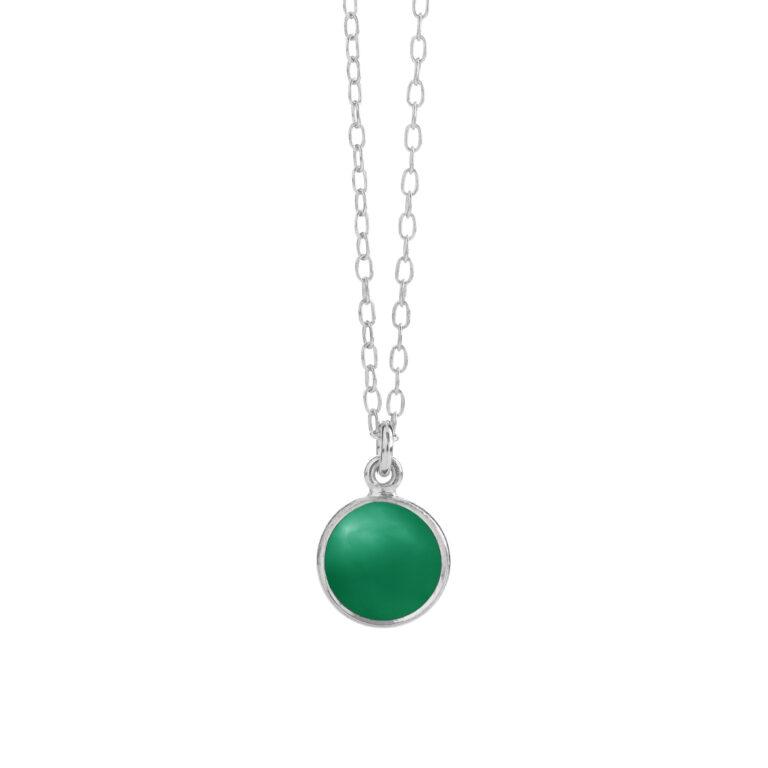 sølv halskæde med grøn agat fra Susanne Friis Bjørner