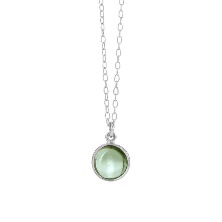 sølv halskæde fra Susanne Friis Bjørner med grøn kvarts