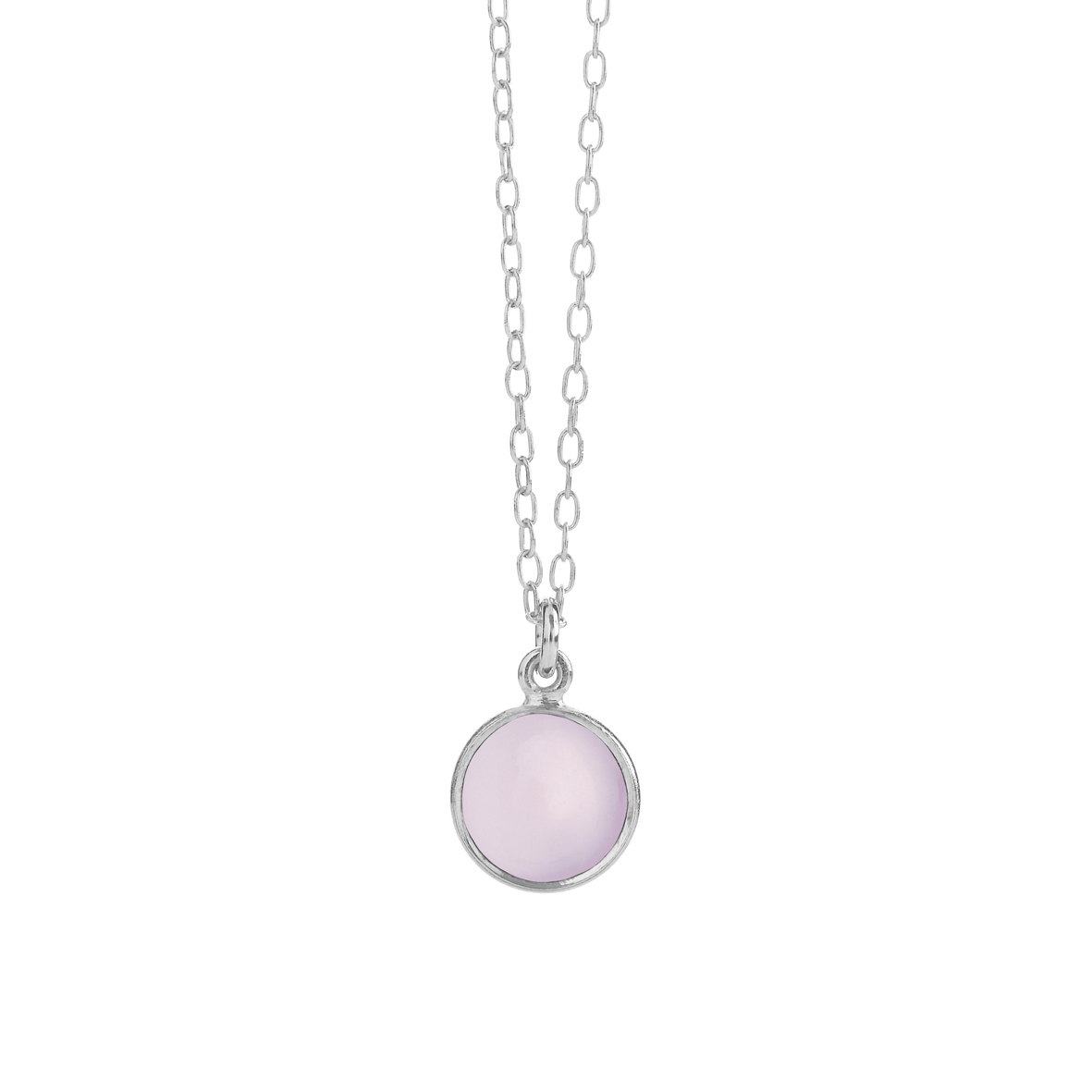 sølv halskæde med lyserød krystal fra Susanne Friis Bjørner