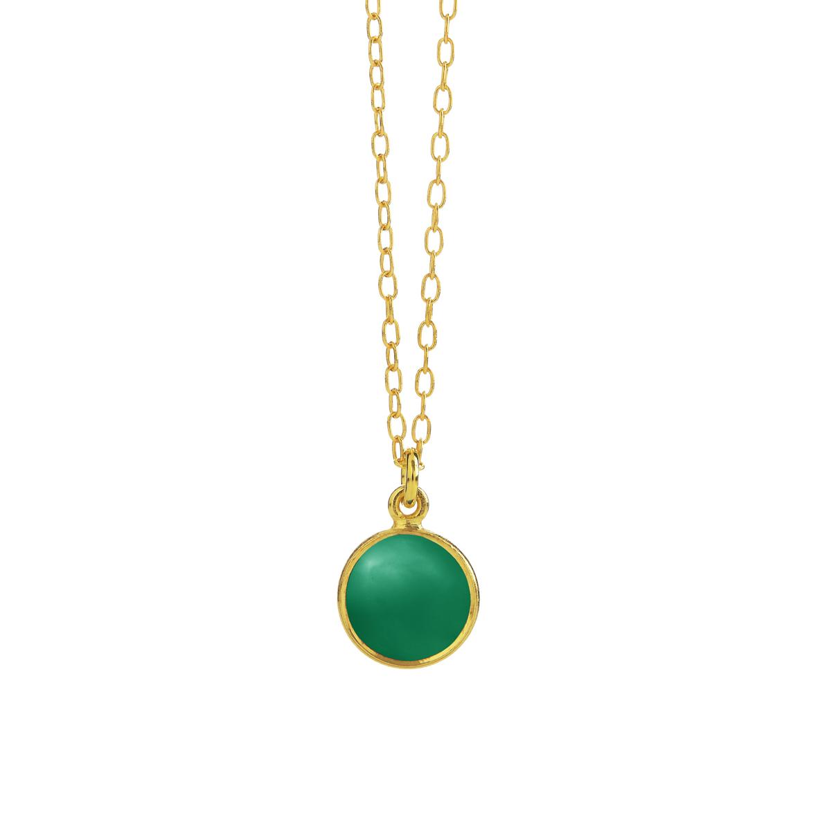 Forgyldt sølv halskæde med grøn agat fra Susanne Friis Bjørner