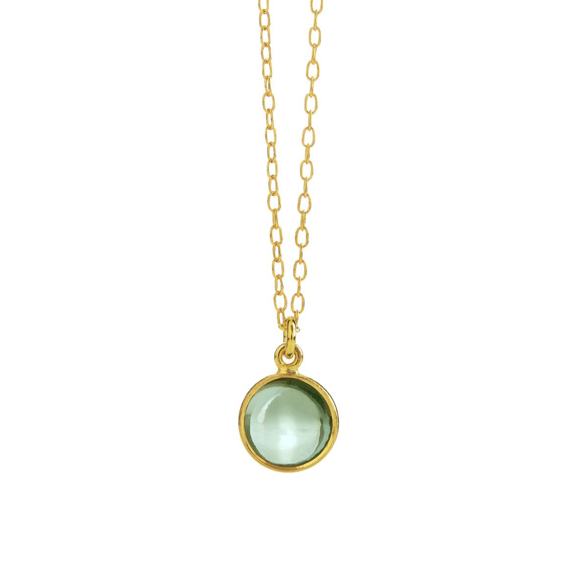 Forgyldt sølv halskæde fra Susanne Friis Bjørner med grøn kvarts