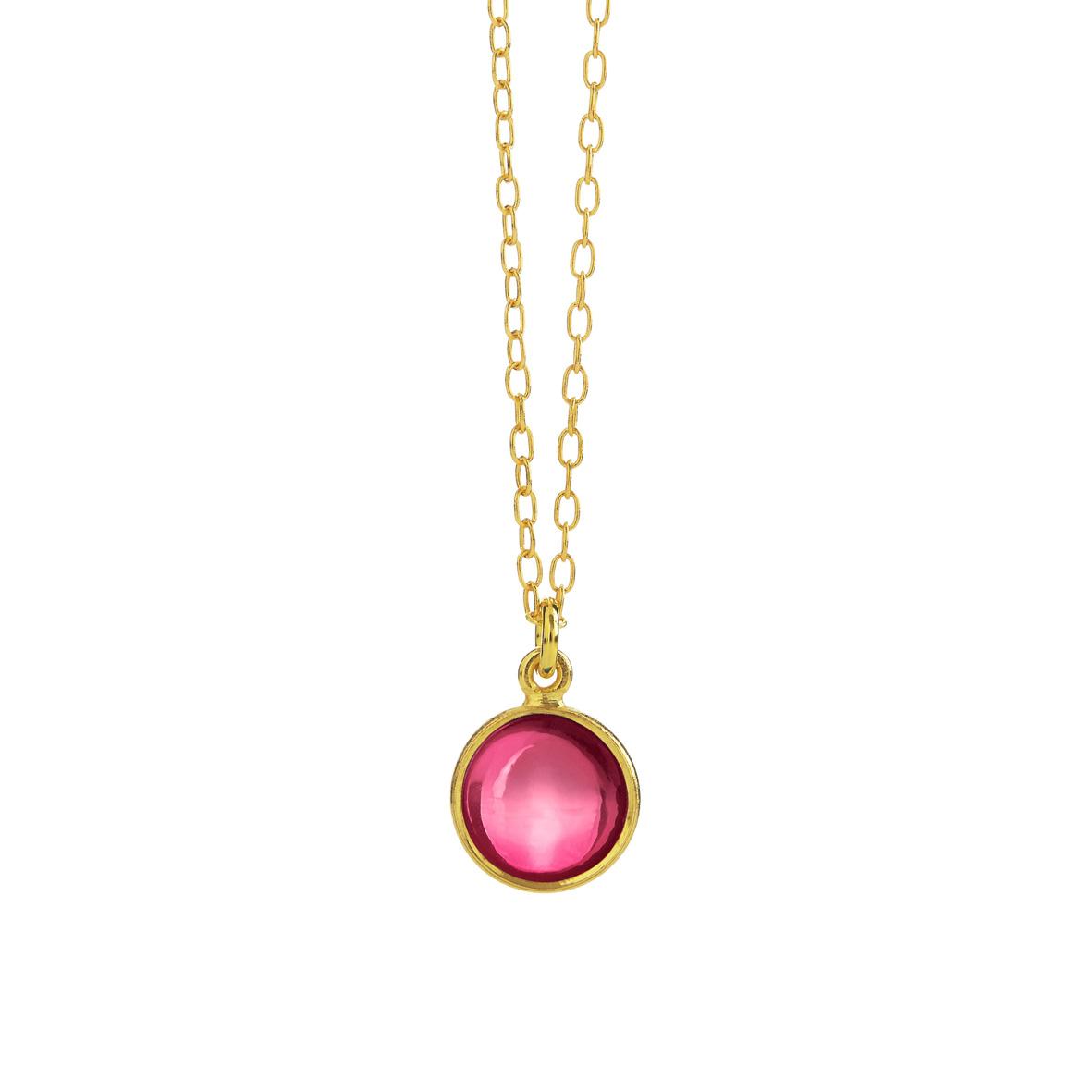 Forgyldt sølv halskæde med pink krystal fra Susanne Friis Bjørner