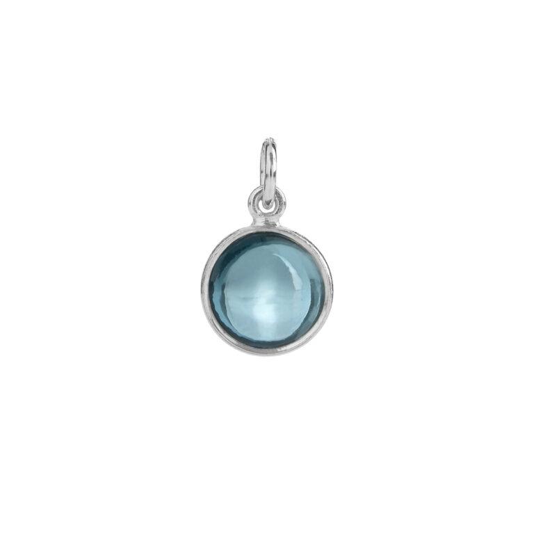 sølv vedhæng med London Blue krystal fra Susanne Friis Bjørner