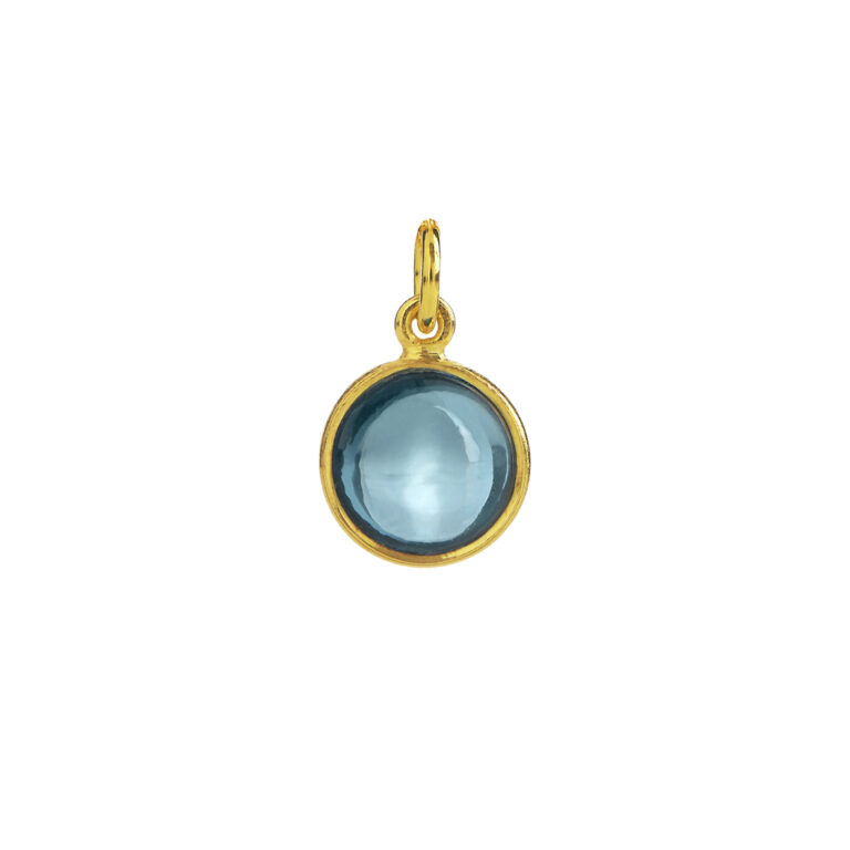 Forgyldt sølv vedhæng med London Blue krystal fra Susanne Friis Bjørner